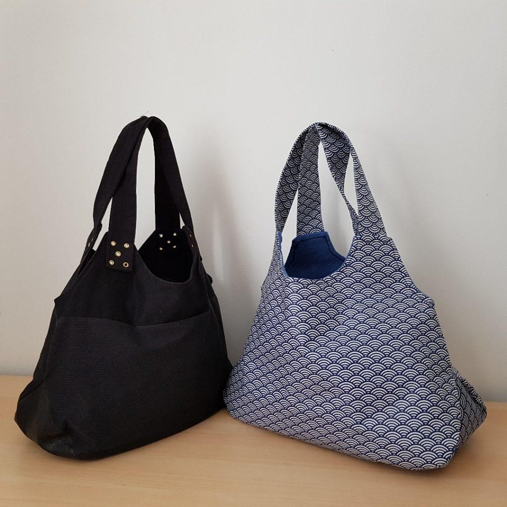 sac a main fourre tout modèle Gina en 2 version tissu japonais et tissu noir et simili cuir