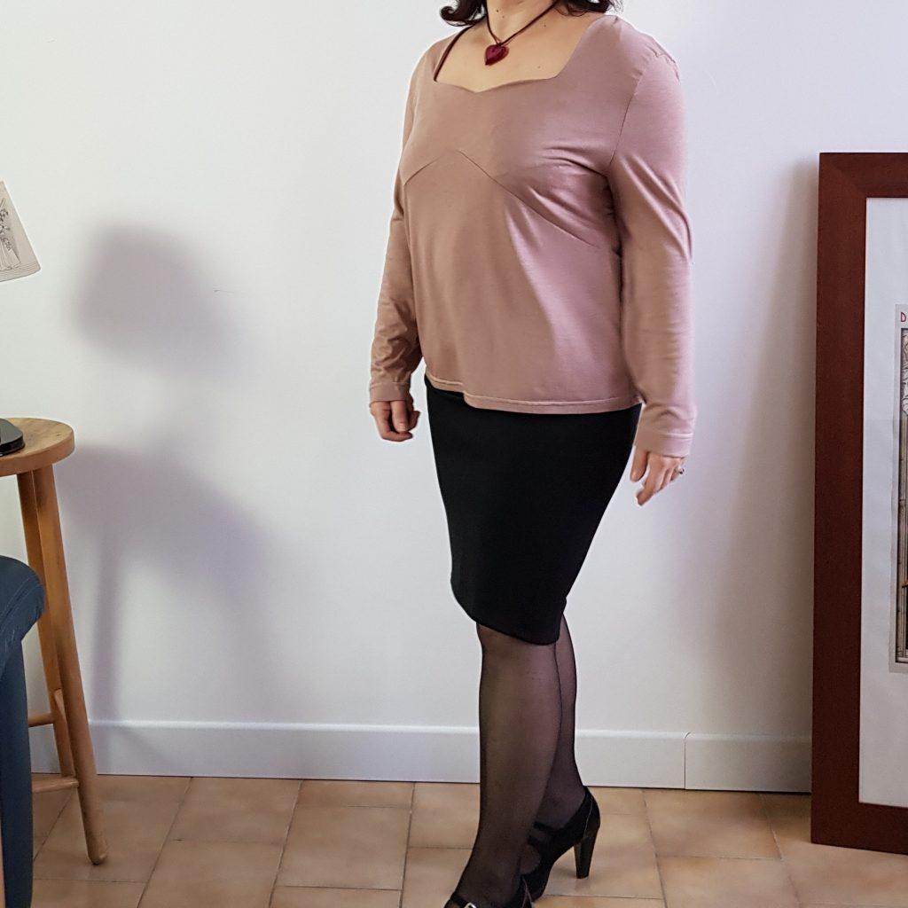 photo blouse eliette maille fine rose poudré