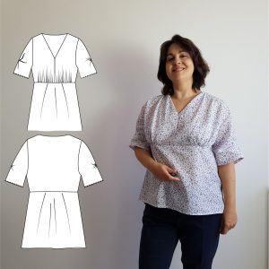 Blouse Valeria avec vue du patron couture à gauche