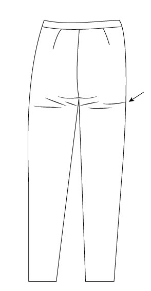 les défauts dans les pantalons - le plis sous les fesses