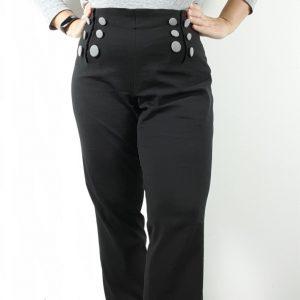 Illustration du patron de pantalon droit pour femme Mayfair rélisé en toile noire